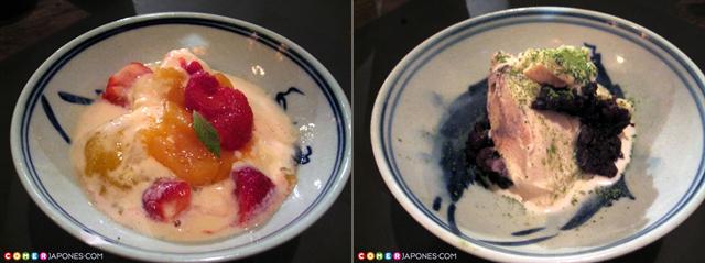 Izda: compota casera de ciruela. Dcha: helado de gengibre y canela con puré de judía roja