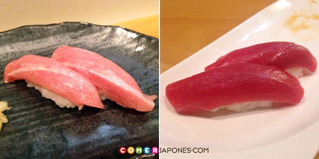 Dúo de nigiris de atún rojo: toro y akami